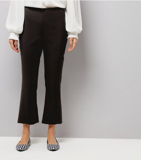 Black Kick Flared Cropped Trousers  | New Look