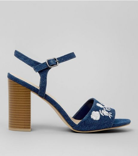 Wide Fit Blue Denim Floral Embroidered Block Heels | New Look