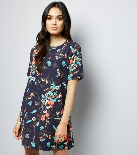 Apricot Navy Floral Print Swing Dress | New Look