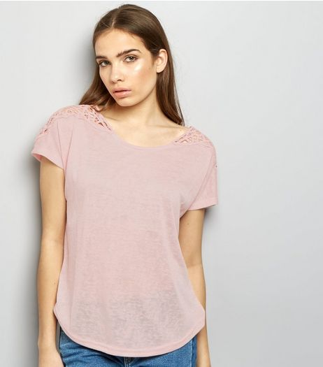 Apricot Pink Marl Crochet Lace Shoulder Top | New Look