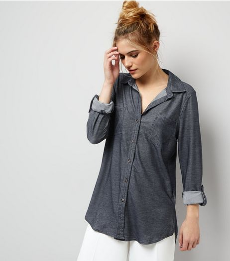 Apricot Navy Roll Up Sleeve Shirt  | New Look