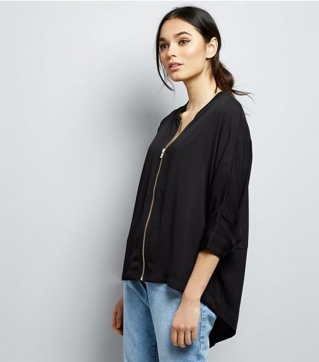 Apricot Black Zip Front Split Back Bomber Jacket  | New Look