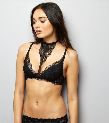 Black Lace Choker Neck Bralet | New Look