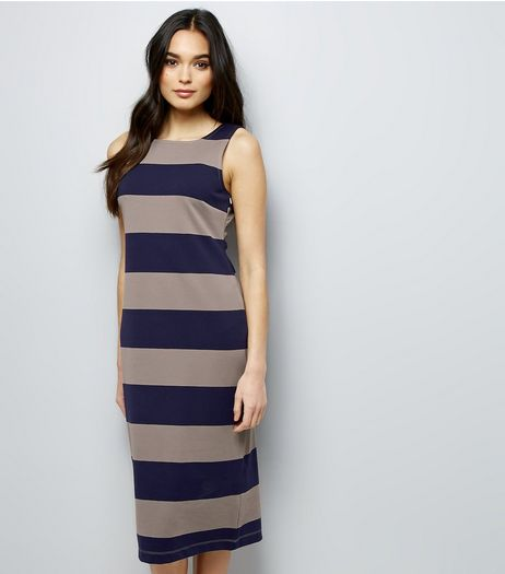 Apricot Navy Stripe Sleeveless Bodycon Maxi Dress | New Look