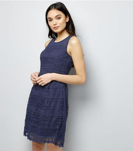 Apricot Navy Mesh Cut Out Tulip Dress | New Look