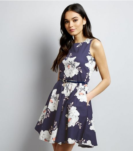 Apricot Navy Floral Print Belted Skater Dress | New Look