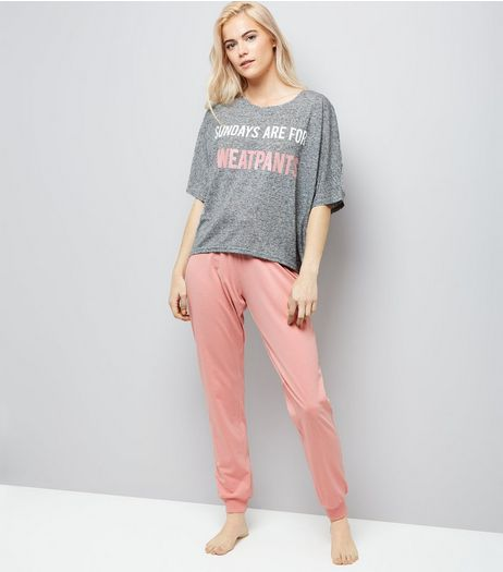 Pink Sunday Slogan Pyjama Set | New Look