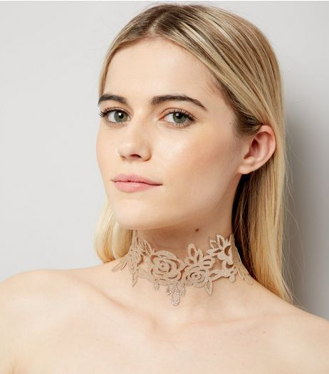 Gold Glitter Flower Choker | New Look