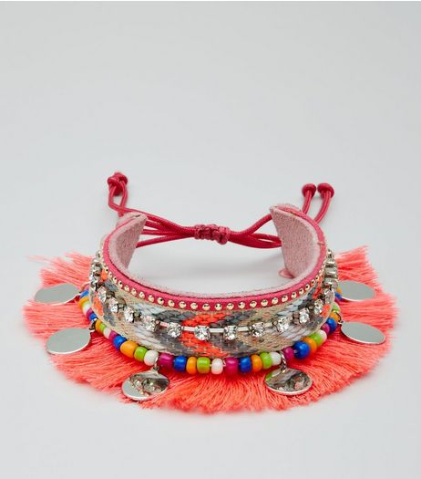 Pink Fringe and Bead Trim Anklet Arm Cuff | New Look