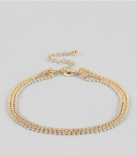 Gold Layered Ball Chain Anklet | New Look