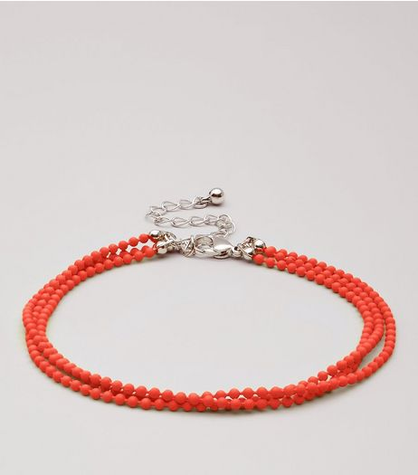 Red Layered Ball Chain Anklet | New Look
