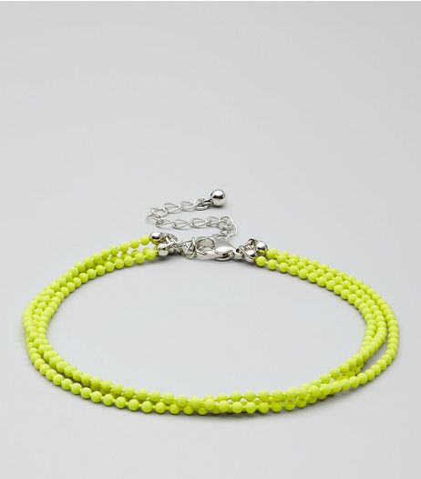 Yellow Layered Ball Chain Anklet | New Look