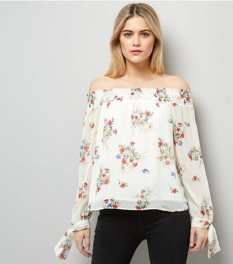 White Floral Print Bardot Tie Sleeve Top | New Look