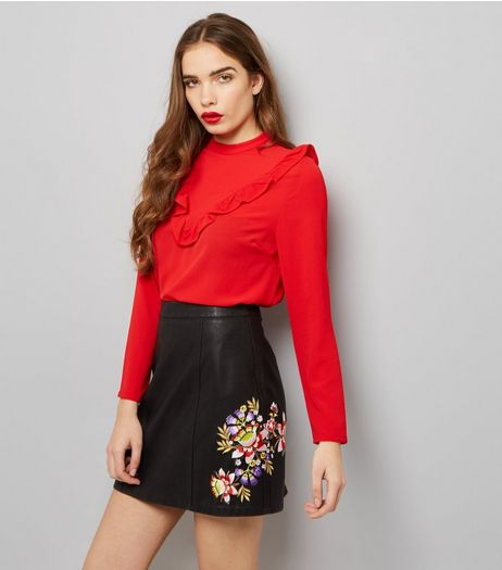 Black Floral Embroidered Leather-Look Skirt  | New Look