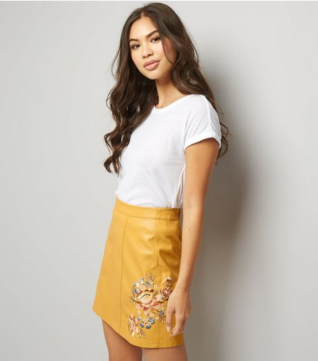 Yellow Leather-Look Embroidered Skirt  | New Look