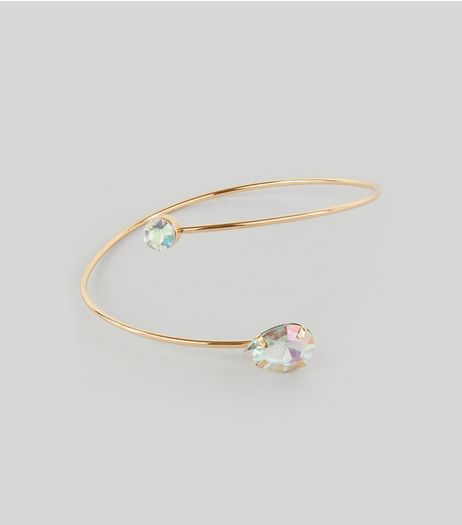 Gold Wrap Iridescent Teardrop Stone Arm Cuff | New Look