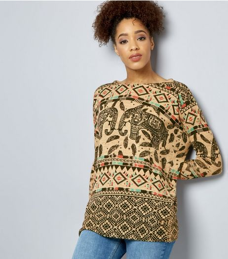 Mela Cream Elephant Print Jumper  | New Look