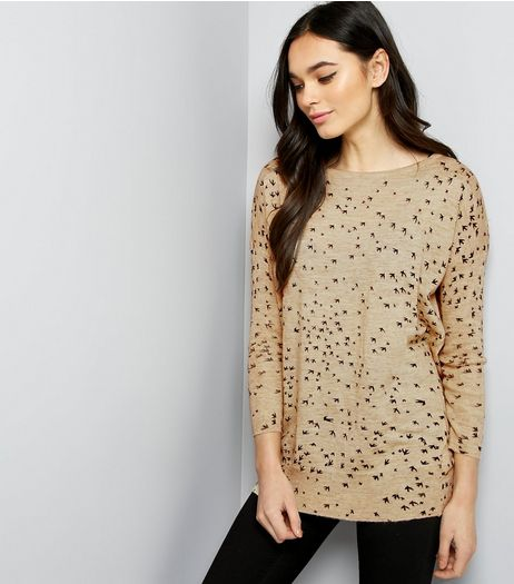Mela Cream Bird Print Jumper | New Look