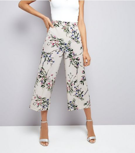 White Floral Print Cropped Trousers  | New Look