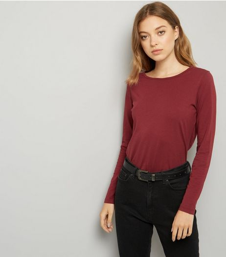 Burgundy Crew Neck Long Sleeve Top | New Look