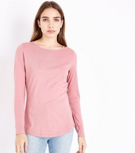 Mid Pink Crew Neck Long Sleeve Top | New Look