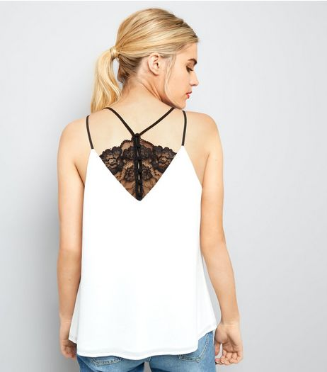 Cream Lace Back Cami Top  | New Look