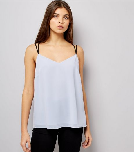 Pale Blue Lace Back Cami Top | New Look