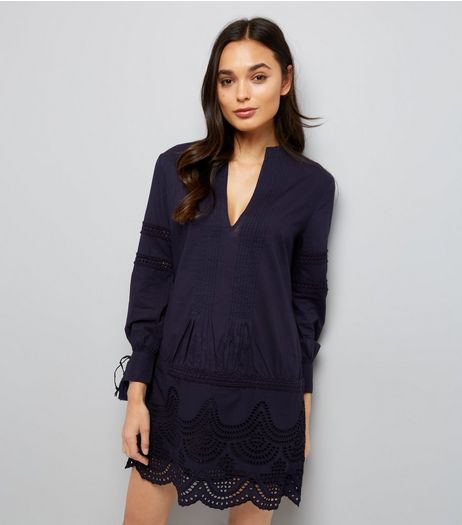 Navy Cut Out Tunic Dress | New Look