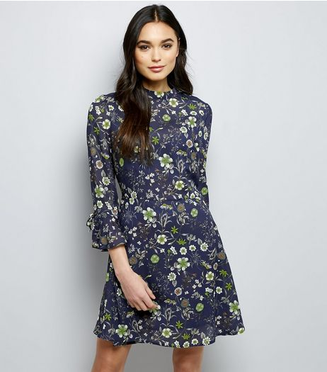 Cameo Rose Navy Floral Print Frill Sleeve Dress | New Look