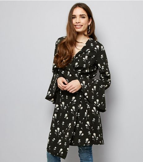 Cameo Rose Black Floral Print Wrap Dress | New Look