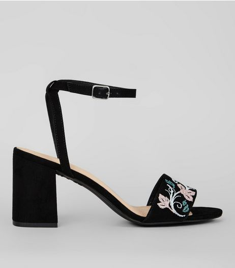 Black Comfort Suedette Floral Embroidered Heeled Sandals | New Look