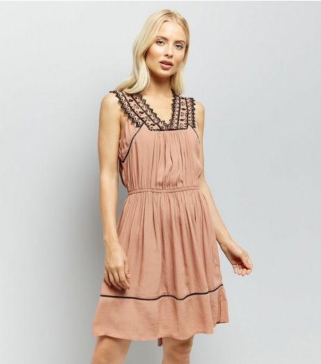 Brown Embroidered V Neck Dip Hem Dress | New Look