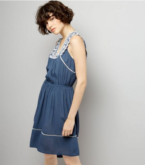 Blue Embroidered V Neck Dip Hem Dress | New Look