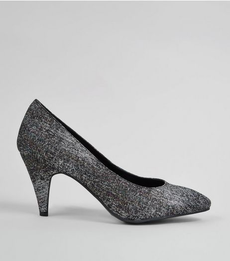 Black Glitter Pointed Heels  | New Look
