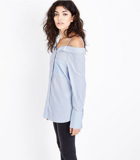 Blue Stripe Bardot Neck Dip Hem Shirt | New Look