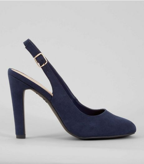 Navy Suedette Sling Back Heels | New Look