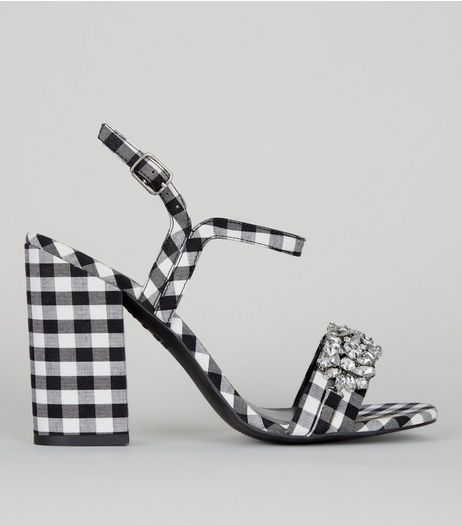 Black Gingham Crystal Embellished Block Heel Sandals | New Look