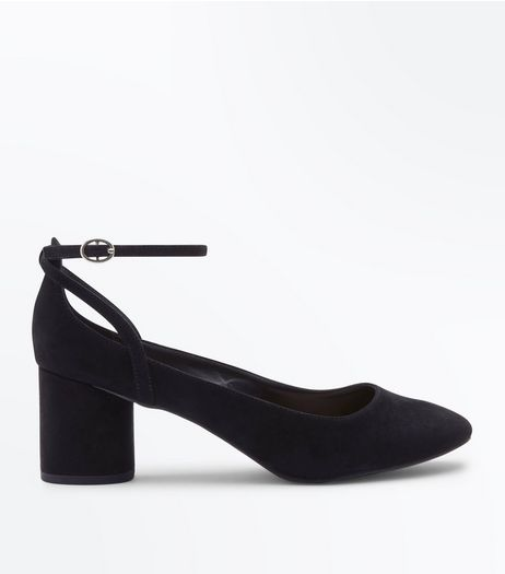 Black Suedette Low Block Heels  | New Look
