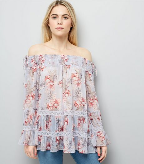 Purple Floral Print Lace Trim Bardot Neck Top  | New Look