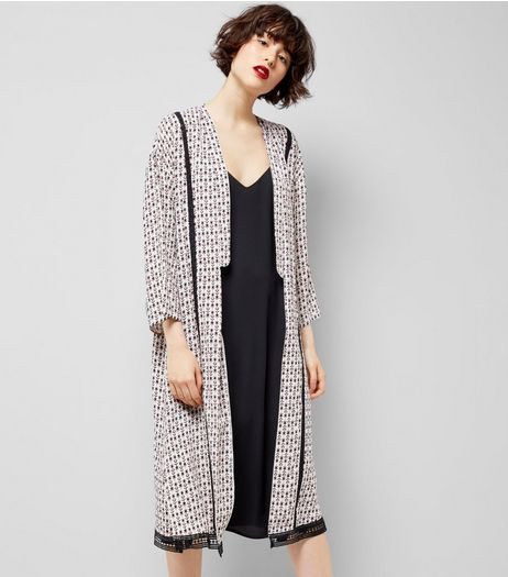 White Abstract Print Crochet Trim Kimono | New Look