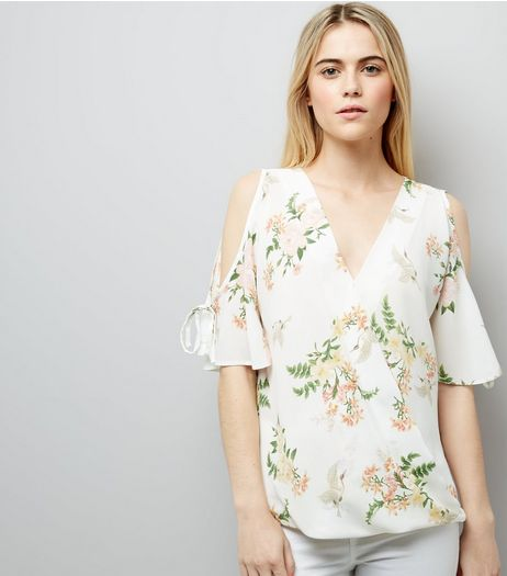 White Floral Print Cold Shoulder Top | New Look