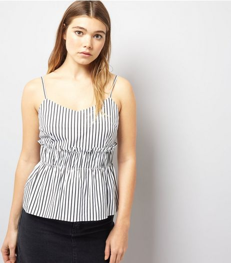 Black Stripe Frill Trim Cami | New Look