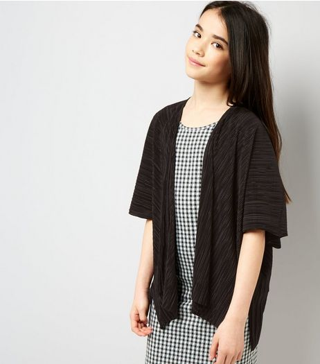 Teens Black Pleated Kimono | New Look