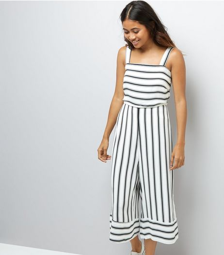 Petite White Stripe Culotte Jumpsuit | New Look