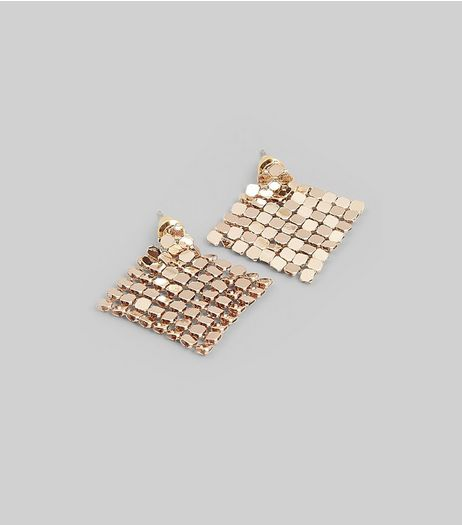 Gold Chainmail Stud Earrings | New Look