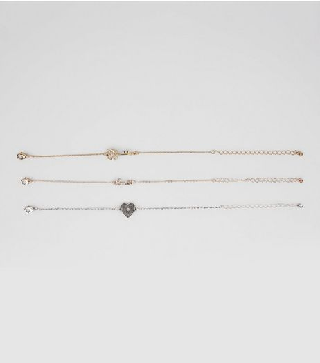 Gold 3 Pack Heart Key Bracelets | New Look