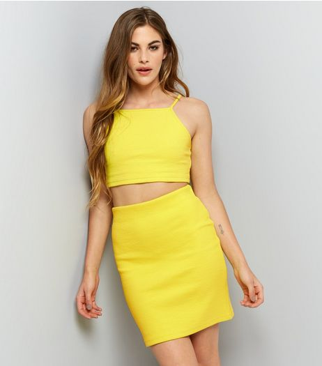Yellow Ribbed Tube Skirt | New Look