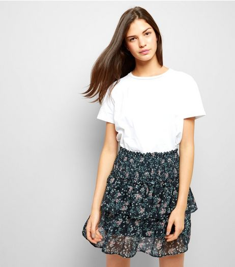 Black Floral Print Mesh Mini Skirt  | New Look