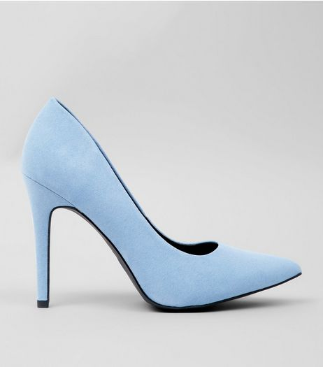 Wide Fit Pale Blue Suedette Heels  | New Look
