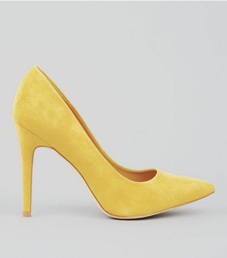 Wide Fit Yellow Suedette Pointed Court Heels | New Look